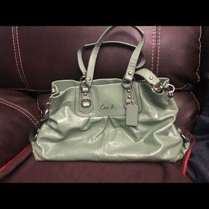 Green COACH Patent Leather Satchel
